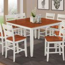 """54"""" SQUARE COUNTER HEIGHT TABLE DINING ROOM SET IN WHITE CHERRY"""