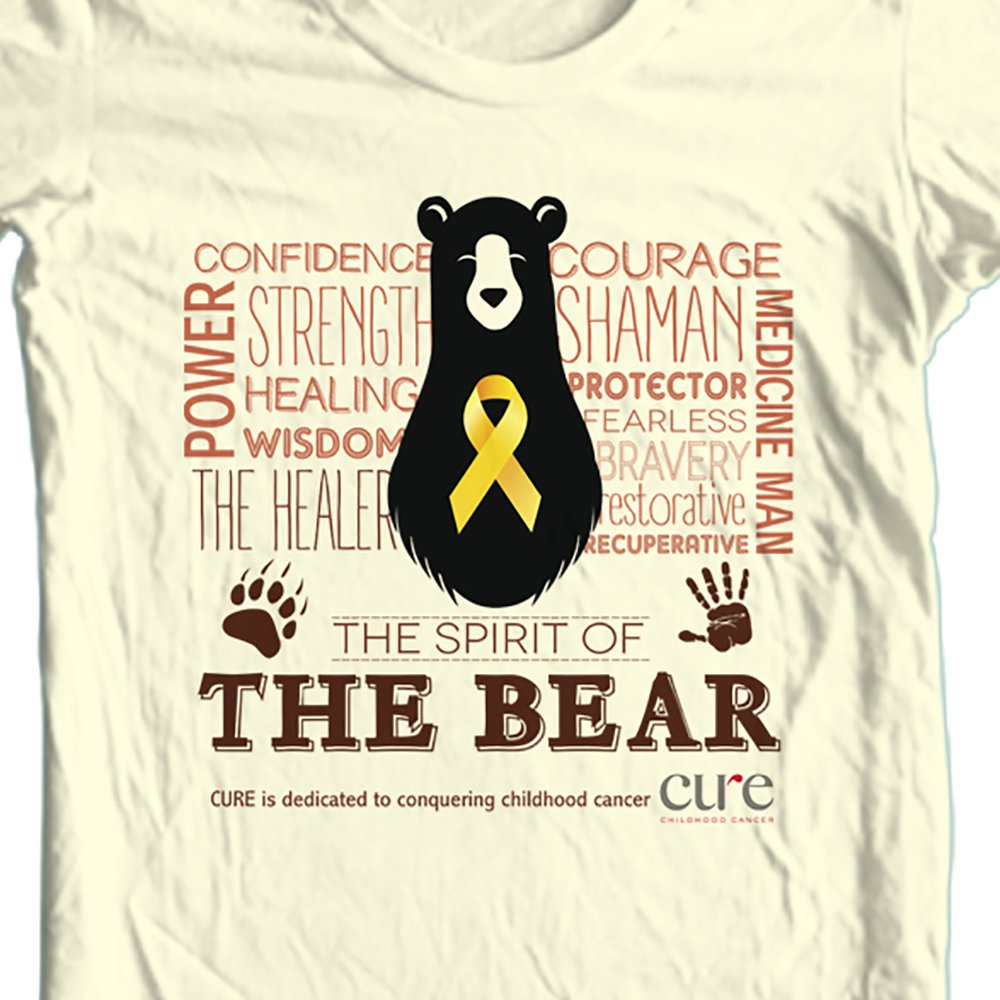 Size: Large / The Bear t-shirt benefiting CURE Childhood Cancer: Color: Tan