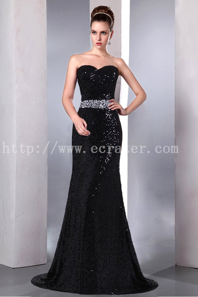 Pretty Black Sequins Sheath Evening Dress