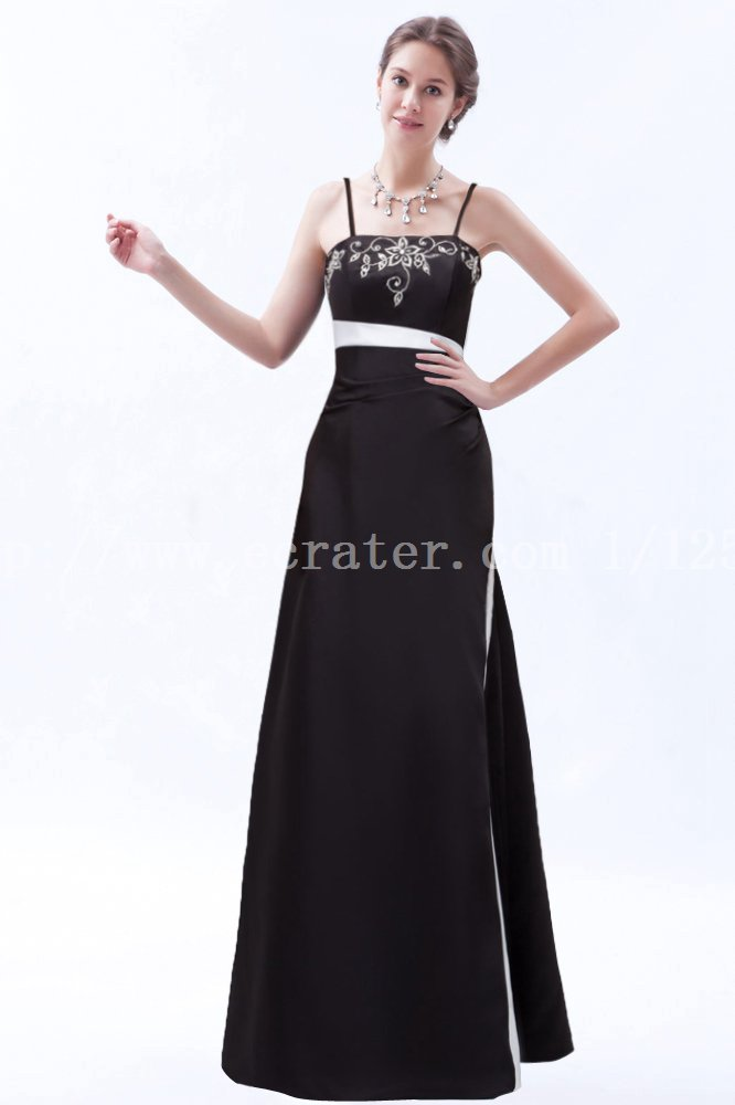Traditional Long Black and White Prom Dress with Embroidery