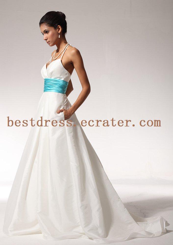 Halter Destination Wedding Dress for Summer
