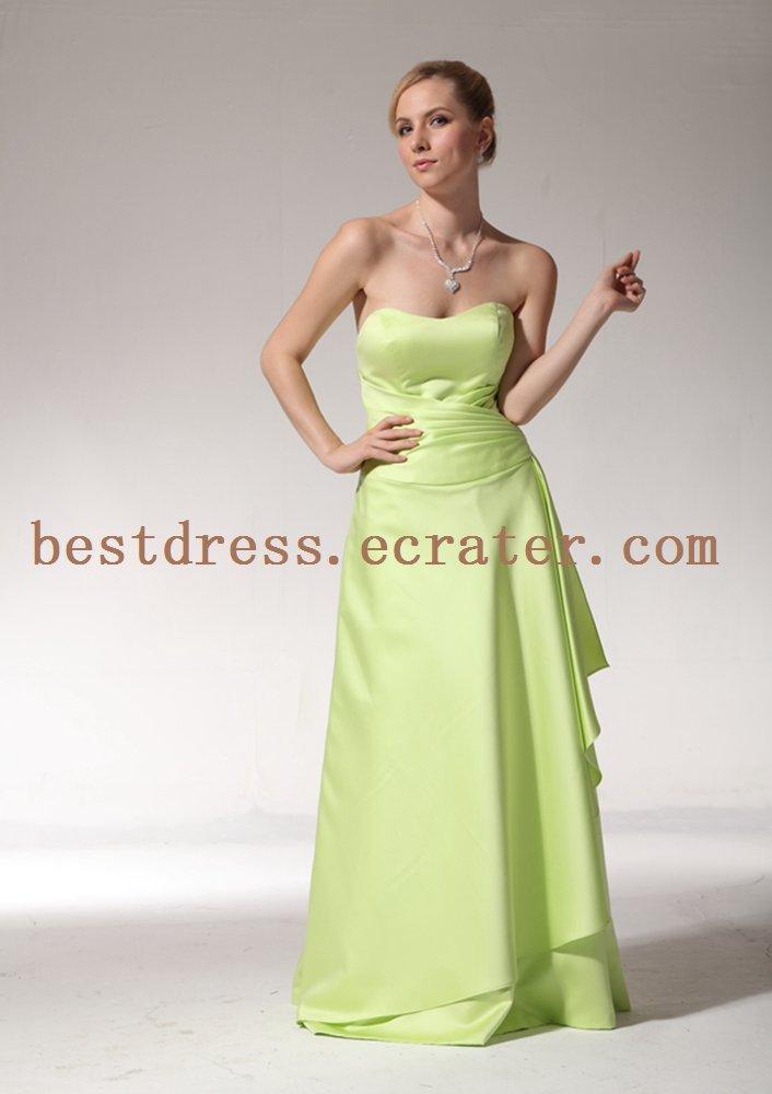 Simple Apple Green Full Length Bridesmaid Dresses
