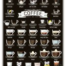 "38 ways to make a perfect Coffee Chart  13""x19"" (32cm/49cm) Polyester Fabric Poster"