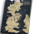 "Game of Thrones Map  12""x16"" (30cm/40cm) Canvas Print"