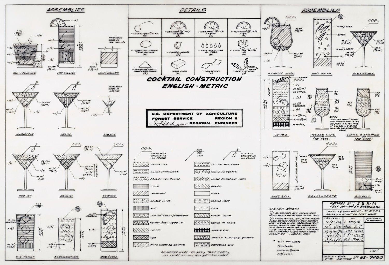 """Cocktails Construction Chart 18""""x28"""" (45cm/70cm) Canvas Print"""