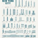 "New York Buildings Chart 18""x28"" (45cm/70cm) Canvas Print"