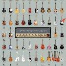 "Visual Compendium of Guitars Chart 18""x28"" (45cm/70cm) Canvas Print"
