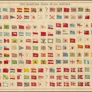"""The Maritime Flags of All Nations Chart   18""""x28"""" (45cm/70cm) Canvas Prin"""