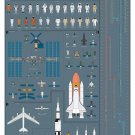 """A History of Space Travel Chart  18""""x28"""" (45cm/70cm) Canvas Print"""