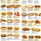 "Ultimate Hot Dog Style Guide Chart 18""x28"" (45cm/70cm) Canvas Print"
