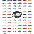 "A Collection of Classic American Automobiles Chart  18""x28"" (45cm/70cm) Poster"