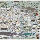 """Freshwater Fish of America The Complete Collection Chart  18""""x28"""" (45cm/70cm) Canvas Print"""