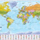 "Global Mapping World Map Countries Chart  18""x28"" (45cm/70cm) Canvas Print"
