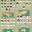 """Around the World in 80 Hats Chart  18""""x28"""" (45cm/70cm) Canvas Print"""