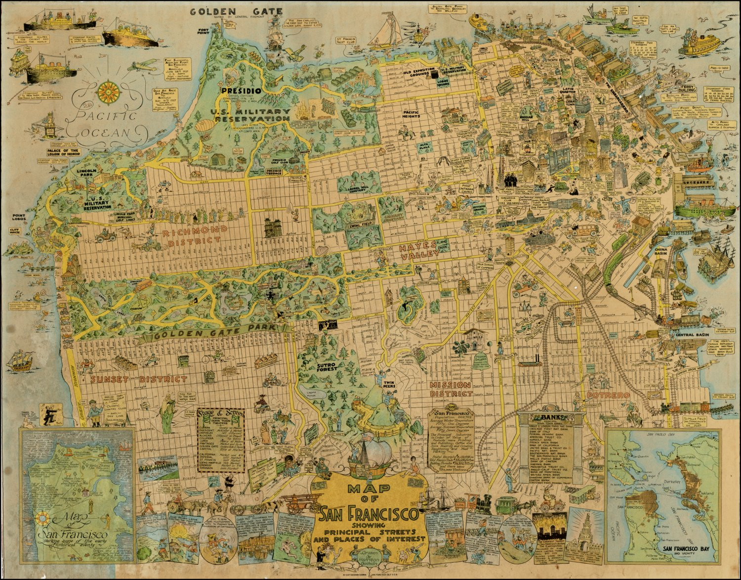 """San Francisco Map Principal Streets and Places  18""""x28"""" (45cm/70cm) Poster"""