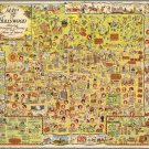 """Vintage Hollywood Map Principal Streets and Places 18""""x28"""" (45cm/70cm) Canvas Print"""