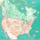 """Translation of Places in Canada and United States Chart  18""""x28"""" (45cm/70cm) Canvas Print"""