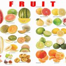 """Fruits Circuits and Melons Chart  13""""x19"""" (32cm/49cm) Polyester Fabric Poster"""