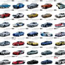 "Nissan Car Models Through the Years Chart  13""x19"" (32cm/49cm) Polyester Fabric Poster"