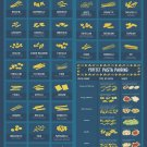 """Use your noodle Pasta Shapes Chart  13""""x19"""" (32cm/49cm) Polyester Fabric Poster"""