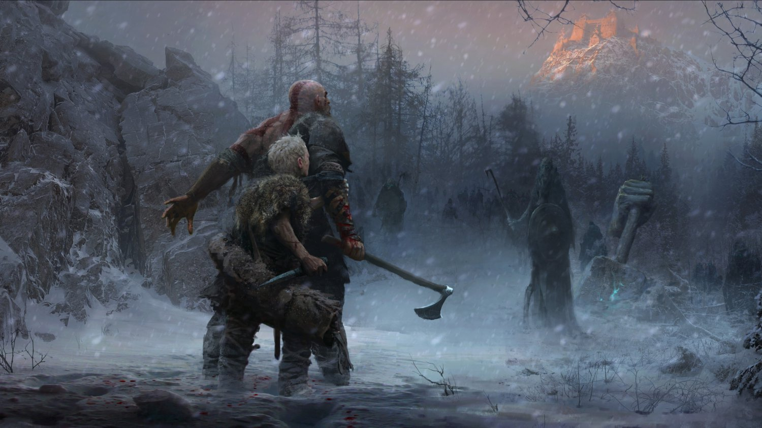 """God of War Game 2018  13""""x19"""" (32cm/49cm) Polyester Fabric Poster"""