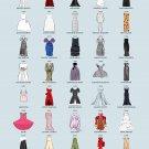 "Iconic Cannes Dresses Red Carpet History Chart  18""x28"" (45cm/70cm) Canvas Print"