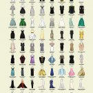 "Oscar Dresses worn by Actress Award Winners Chart  13""x19"" (32cm/49cm) Polyester Fabric Poster"