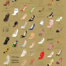 "The Many Shoes of Carrie Bradshaw's Closet Chart 13""x19"" (32cm/49cm) Polyester Fabric Poster"