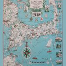 """A Picture Chart of Cape Cod 13""""x19"""" (32cm/49cm) Polyester Fabric Poster"""