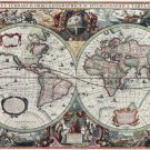 """Terrarum Orbis map of the world created by Hondius 13""""x19"""" (32cm/49cm) Polyester Fabric Poster"""