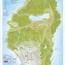 "Grand Theft Auto 5 Los Santos County Map 13""x19"" (32cm/49cm) Polyester Fabric Poster"