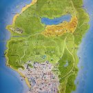 "Grand Theft Auto 5 Los Santos County Map 18""x28"" (45cm/70cm) Canvas Print"
