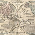 "History World Map Historische Weltkarte German  13""x19"" (32cm/49cm) Polyester Fabric Poster"