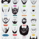 "Beards of Silicon Valley Infographic Chart 13""x19"" (32cm/49cm) Polyester Fabric Poster"