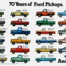 """70 Years of Ford Pickups Infographic Chart 18""""x28"""" (45cm/70cm) Canvas Print"""