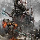 "God of War Kratos and Atreus   13""x19"" (32cm/49cm) Polyester Fabric Poster"