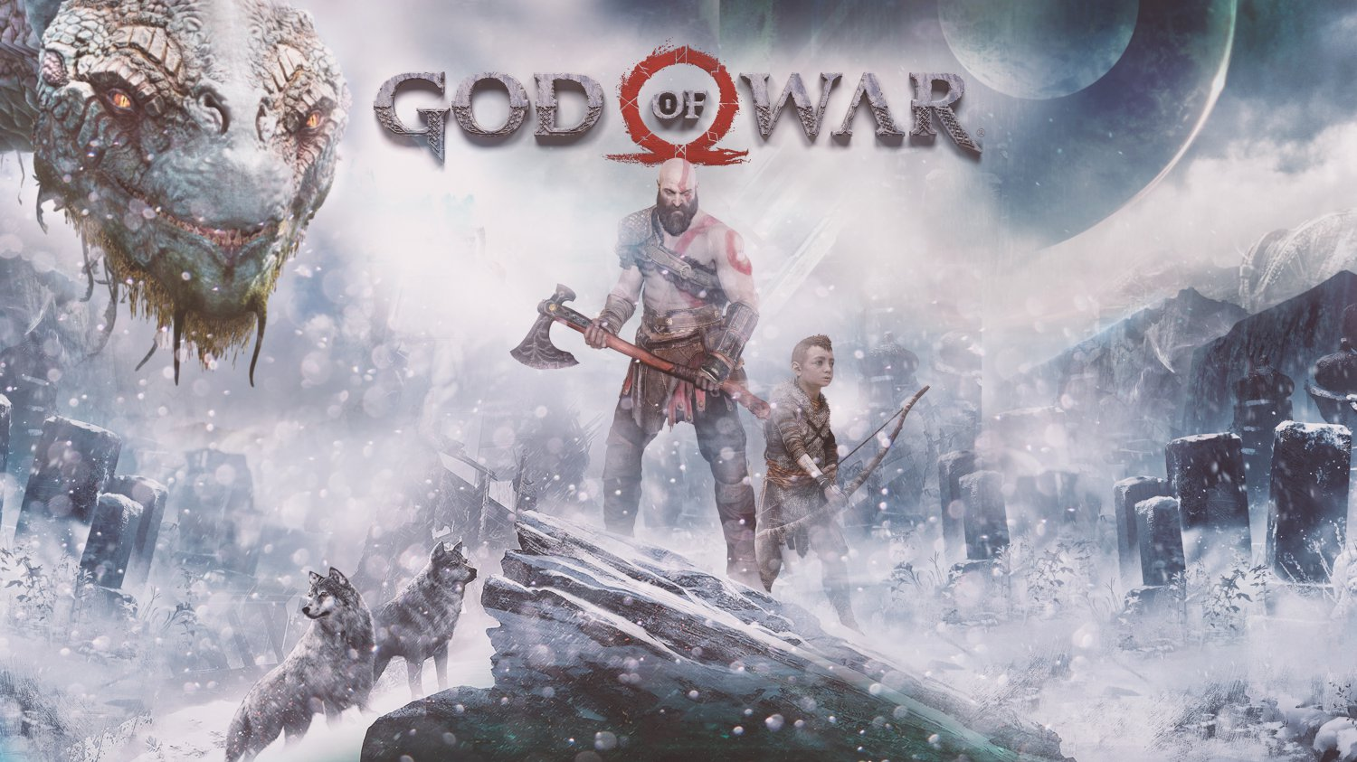 "God of War Kratos and Atreus   18""x28"" (45cm/70cm) Canvas Print"