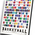 "A Visual Compendium of Basketball Jerseys Chart   12""x16"" (30cm/40cm) Canvas Print"