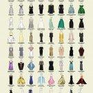 "Oscar Dresses worn by Actress Award Winners Chart 13""x19"" (32cm/49cm) Canvas Print"