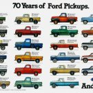 """70 Years of Ford Pickups Infographic Chart 13""""x19"""" (32cm/49cm) Polyester Fabric Poster"""