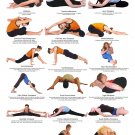 """Yoga Seated and Floor Postures Chart 13""""x19"""" (32cm/49cm) Canvas Print"""
