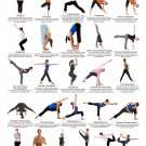 "Yoga Standing Postures Chart 13""x19"" (32cm/49cm) Canvas Print"