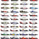 """Formula One Drivers World Champions Chart 13""""x19"""" (32cm/49cm) Polyester Fabric Poster"""