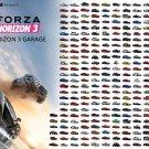 "Forza Horizon 3 Garage Cars Chart 13""x19"" (32cm/49cm) Polyester Fabric Poster"