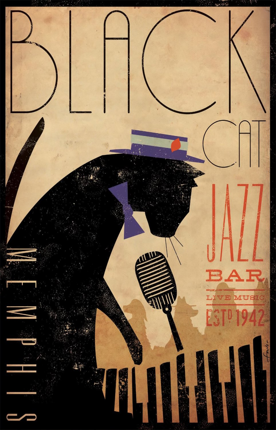 "Black Cat Jazz Bar 18""x28"" (45cm/70cm) Poster"