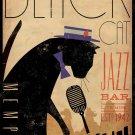 "Black Cat Jazz Bar 13""x19"" (32cm/49cm) Polyester Fabric Poster"