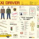 """Taxi Driver Infographic Chart Movie 13""""x19"""" (32cm/49cm) Polyester Fabric Poster"""
