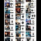 """Tracking Time for 007 James Bond Watches Chart 18""""x28"""" (45cm/70cm) Canvas Print"""