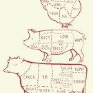 "Cow Pig Chicken Butcher Diagram Chart 18""x28"" (45cm/70cm) Canvas Print"