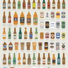 """Fantastical Fictive Beers Chart 13""""x19"""" (32cm/49cm) Polyester Fabric Poster"""